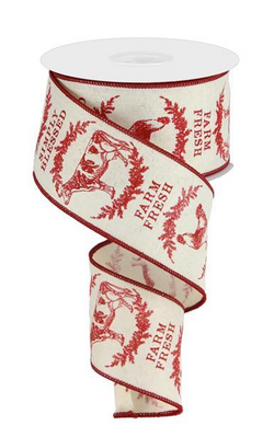 "2.5"" Farm House Animals Ribbon: Cream & Red (10 Yards) Chicken Cow Rooster Pig Farm Fresh Ribbon-Wired edge"