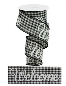 "2.5""X10yd Welcome With Gingham Check Wired Edge Ribbon"