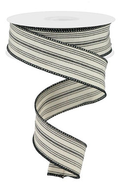 Ticking Stripe on Cotton Wired Edge Ribbon - 10 Yards (Black, Beige, 1.5 Inch)