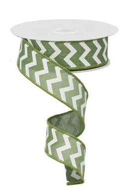 "1.5"" x 10 yd White Chevron on Moss Green Wired Edge Ribbon"
