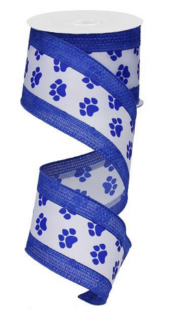 "2.5""X10yd Paw Print With Cross Royal--Blue and White Wired Edge Ribbon"