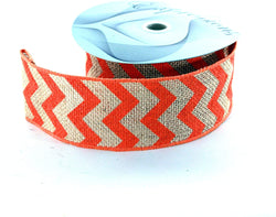 "2.5"" X 10 Yards 100% Jute Wired Ribbon Chevron ORANGE"