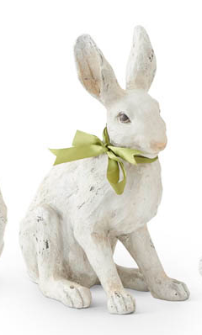 11.5 Inch Sitting White Rabbit with Green Ribbon Bow