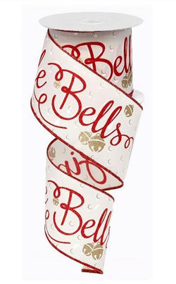 "2.5""X10yd Jingle Bells Wired Edge Christmas Ribbon"