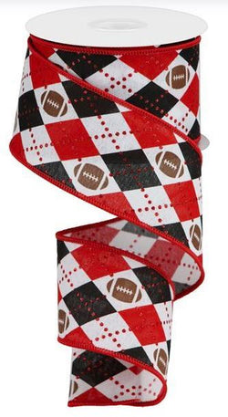 "2.5""X10yd Argyle Footballs On Royal Wired Edge Ribbon"