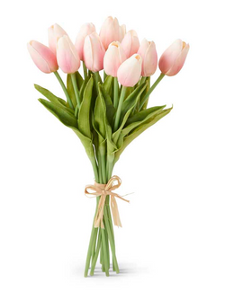 13.5 Inch Pink Real Touch Mini Tulip Bouquet (12 Stems per Bundle)