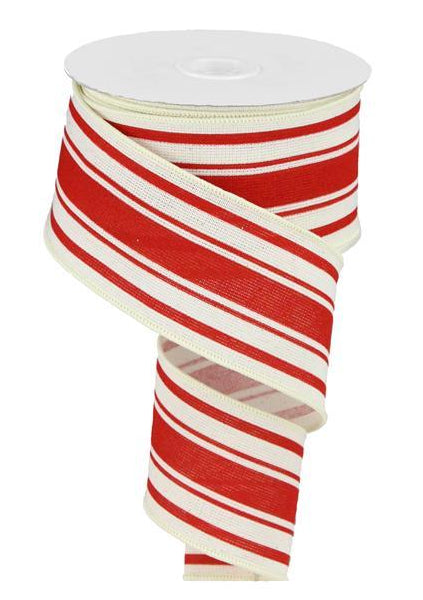 Farmhouse Stripe on Cotton Wired Edge Ribbon - 2.5 Inches x 10 Yards (Ivory, Farmhouse Red)