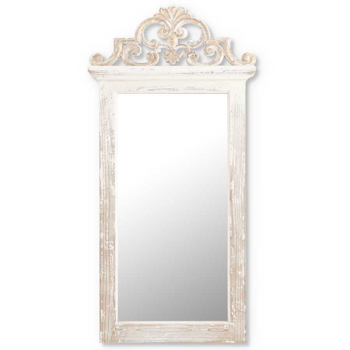 47 Inch Whitewashed Mirror w/Ornate Molding on Top