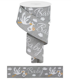 "2.5""X 10 yd Storks On Royal Grey Baby Wired Edge Ribbon"