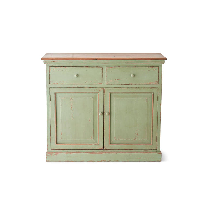 41 Inch Light Green Painted Wooden Cupboard with 2 Drawers