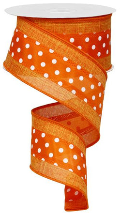 "Orange Polka Dot Wired Edge Ribbon-2.5"" x 10 yds"