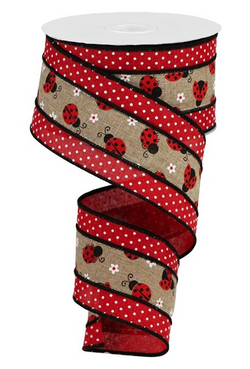 "2.5""X10yd 2 In 1 Ladybugs On Swiss Dots Wired Edge Ribbon"