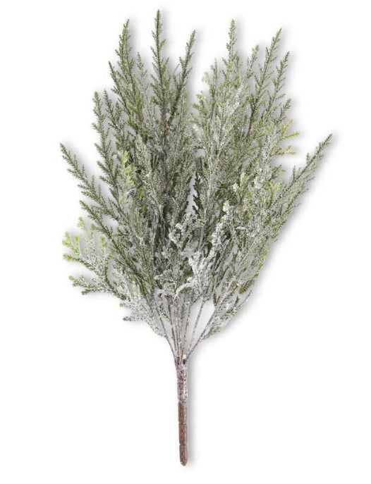 17.5 Inch Cedar Bush with Snow, Green