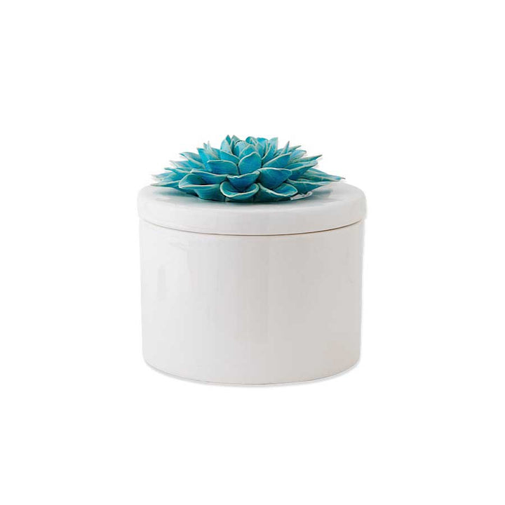 Cream Ceramic Lidded Dish Flower, 6 Inch Blue Flower on Top