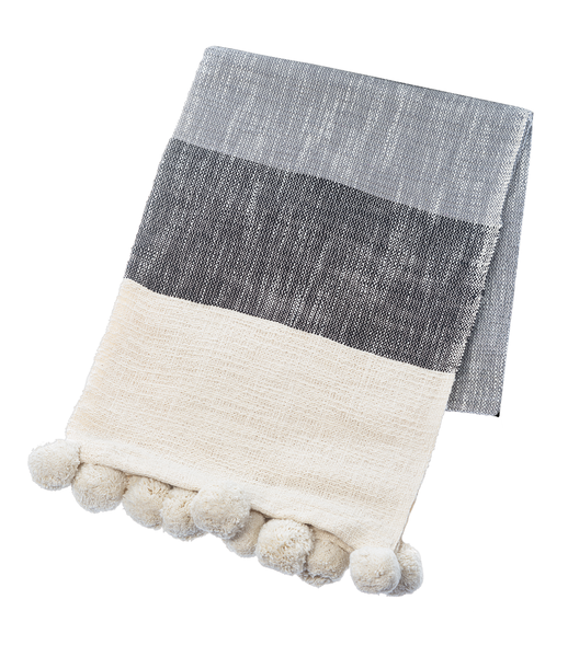 Black & Grey Color Block Slub Woven Throw with Pom Poms