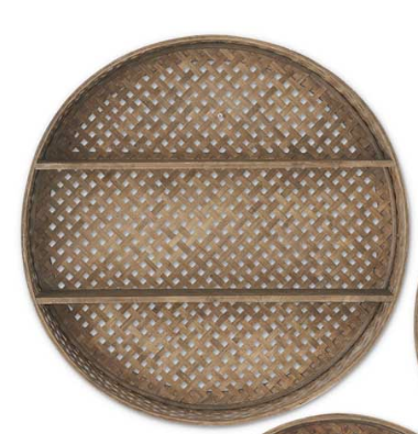 24 Inch Round Bamboo Basket Weave Double Shelf Wall Decor
