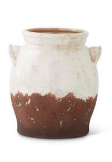 8 Inch Ceramic Cream and Brown Glazed Jug