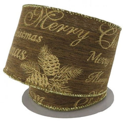 "2.5"" X 10yd Merry Christmas Wired Ribbon - Brown ,Gold"