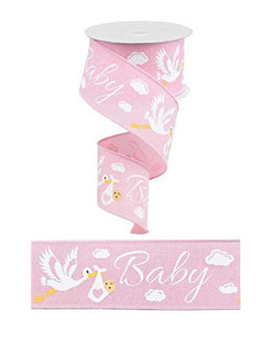 "Pink Baby Wired Ribbon with Stork for Crafting 2.5"" X 10 Yards"