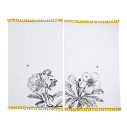 Honey Bee Dish Towel with Bee Embroidery and Pom Pom Trim