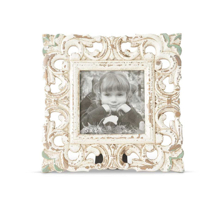 9.5 Inch Square Whitewashed Carved Photo Frame
