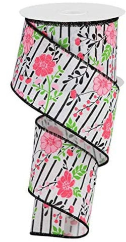 "Wired Ribbon 2.5"" x 10 Yards Floral Print with Black Lines (White, Multi Pink)"