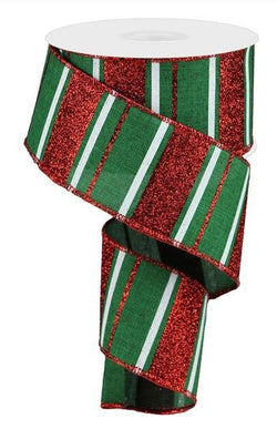 Red Emerald Green White Glitter Stripe Wired Ribbon Christmas 10 Yard x 2.5 Inches