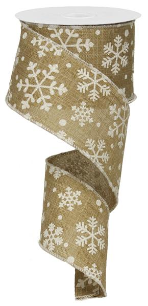 Falling White Snowflakes on Natural Beige Background-Wired Edge Christmas Ribbon 2.5