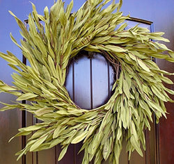 "Simple Green Olive Leaf Wreath with Green and Brown Leaves in 22"" Diameter"