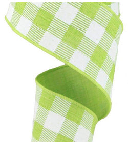 "2.5"" X 50yd Wired Woven Buffalo Plaid- wired edge (Lime Green/White)"