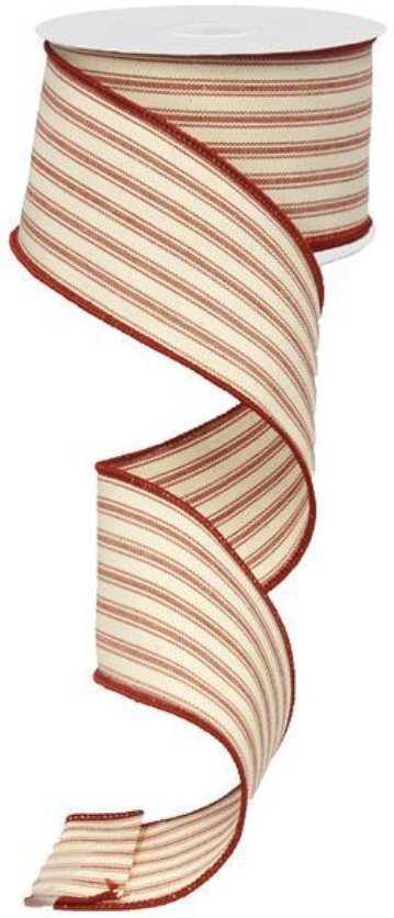Classic Red & Beige Ticking Stripe Ribbon/Garland, 2.5