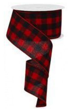 "Wired Buffalo Plaid Flannel Ribbon, 2.5"" Wide x 10 Yards, Red Black"