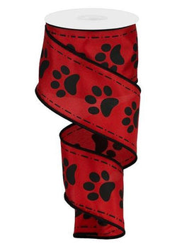 "Wired Ribbon Red and Black Paw Prints on Satin 2.5"" X 10 Yards for Dog or Cat Lover"