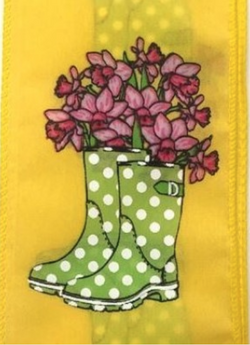 "2.5"" X 10yd Yellow Satin Ribbon w/ Lime Rainboots and Pink Daffodils"