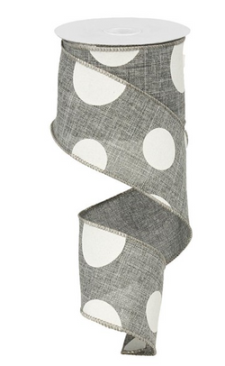 "2.5""X10 yd Large Multi Dots White on Grey Wire Edge Ribbon"
