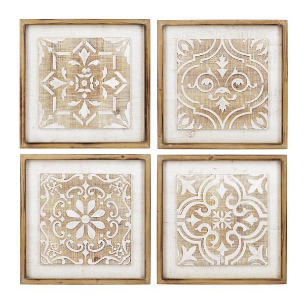 Whitewash Carved Medallion Wall Decor-4 Styles