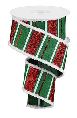 Wired Ribbon Glittered Stripes on Royal in White, Red and Emerald Green with Snowdrift Fringe 2.5 Inches x 10 Yards