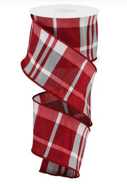 "2.5""X10yd Plaid Faux Dupioni Wired Edge Ribbon-Red,White,Grey Plaid"