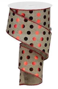 "Metallic Polka Dots Wired Edge Ribbon - 10 Yards (Light Beige, Red, 2.5"")"