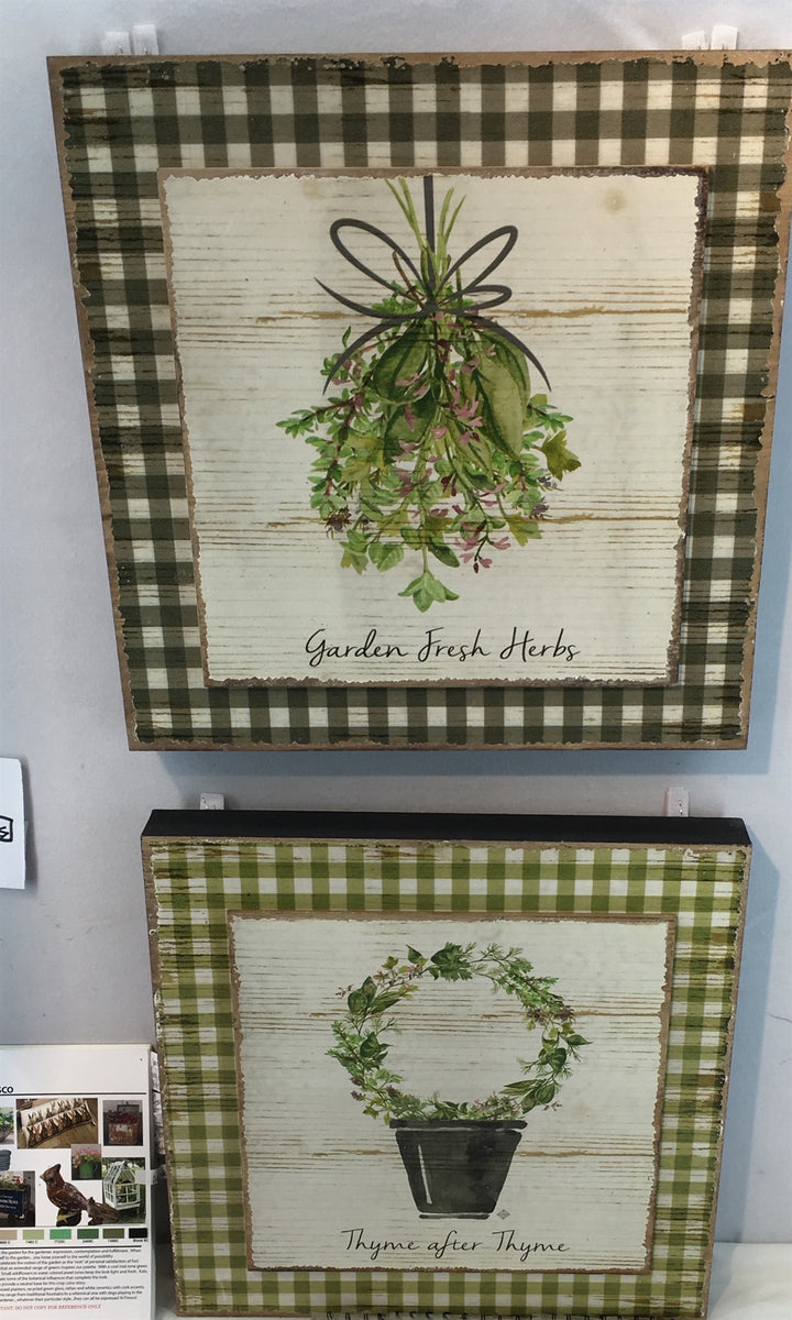 Printed Herbs on Gingham Plaque-Assorted