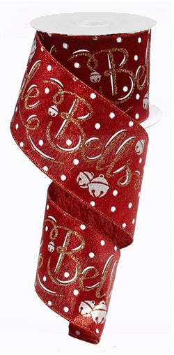 "2.5""X10yd Jingle Bells On Metallic Wired Edge Christmas Ribbon"