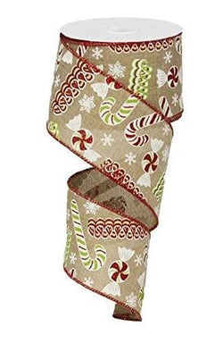 "2.5"" x 10 yd Candy Christmas Wired Edge Ribbon (Light Beige)"