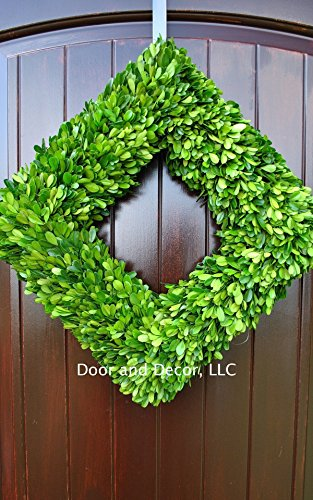 Green Preserved Square Boxwood Wreath in 20 inch Diameter for Home Decor