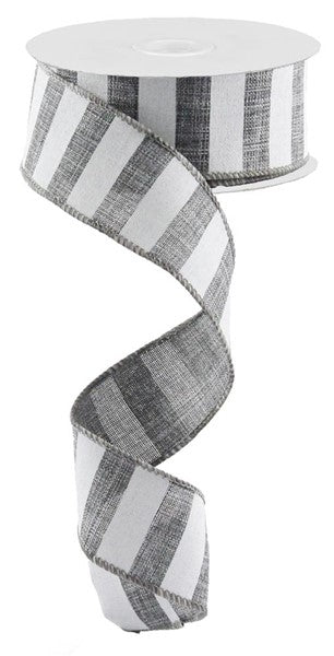 Grey White Striped Fabric Burlap Wired Ribbon (1.5 Inches x 10 Yards)