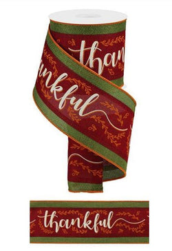 "4""X10yd 3 in 1 Thankful On Royal Wired Edge Thanksgiving Ribbon"