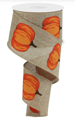 Autumn Pumpkins Wired Edge Ribbon, 2.5 Inches x 10 Yards (Beige, Orange)