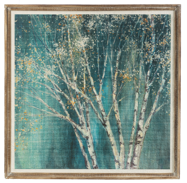 Framed Blue & Gold Birch Wall Decor
