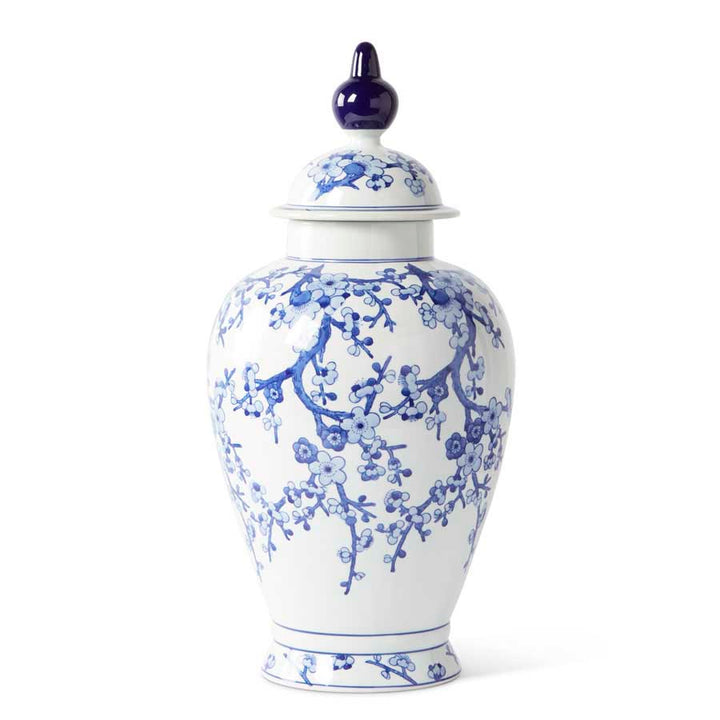 24 Inch Porcelain Blue and White Chinoiserie Lidded Ginger Jar