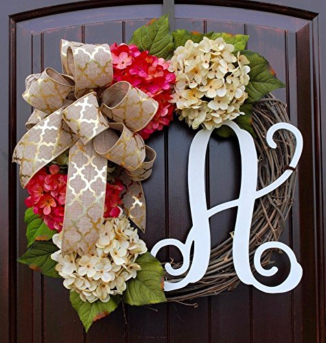 Hydrangea Monogram Initial Wreath with Two Bow Options and Antique White and Coral French Hydrangeas on Grapevine Base-Farmhouse Style Door Decor