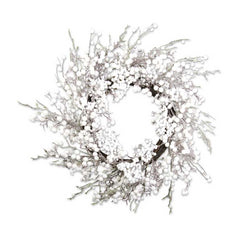 24 Inch White Flocked Berry Wreath